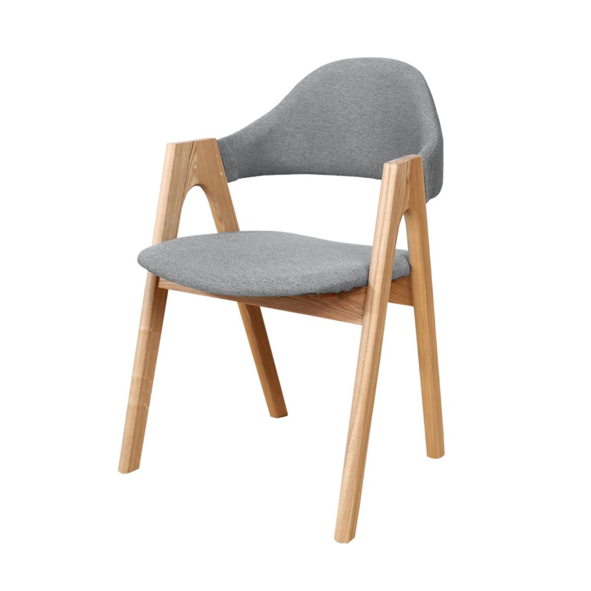 Brixham Oak & Fabric Dining Chair (Set of 2) in Light Grey