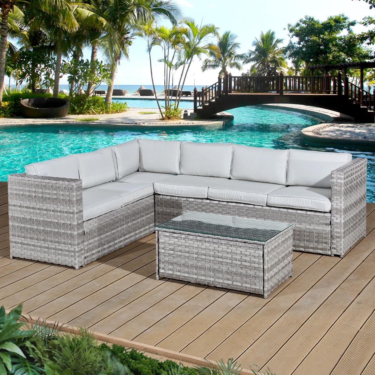 Acorn Rattan 6 Seat Corner Sofa Set in Dove Grey with Light Grey Cushions