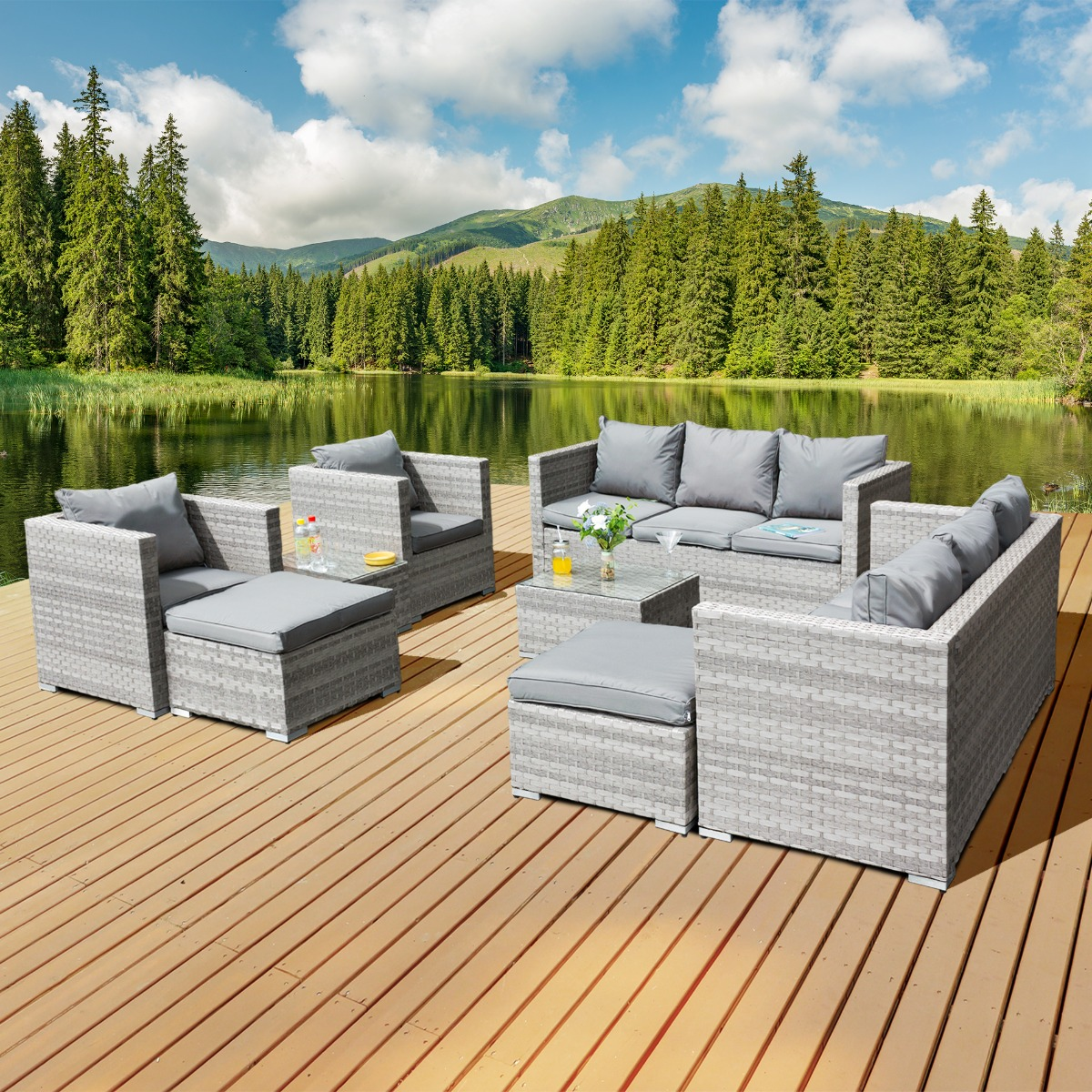 Acorn Deluxe Rattan 10 Seat Modular Sofa Set in Dove Grey