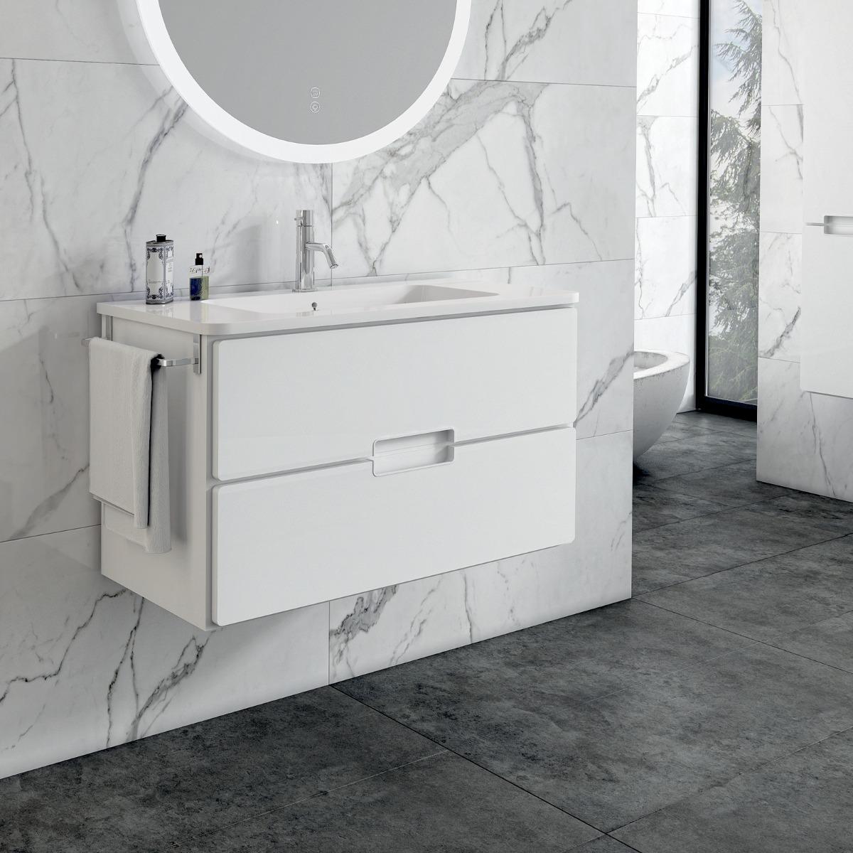 Adele 60cm Basin Set - 60cm Basin & 2 Drawer Basin Unit in White