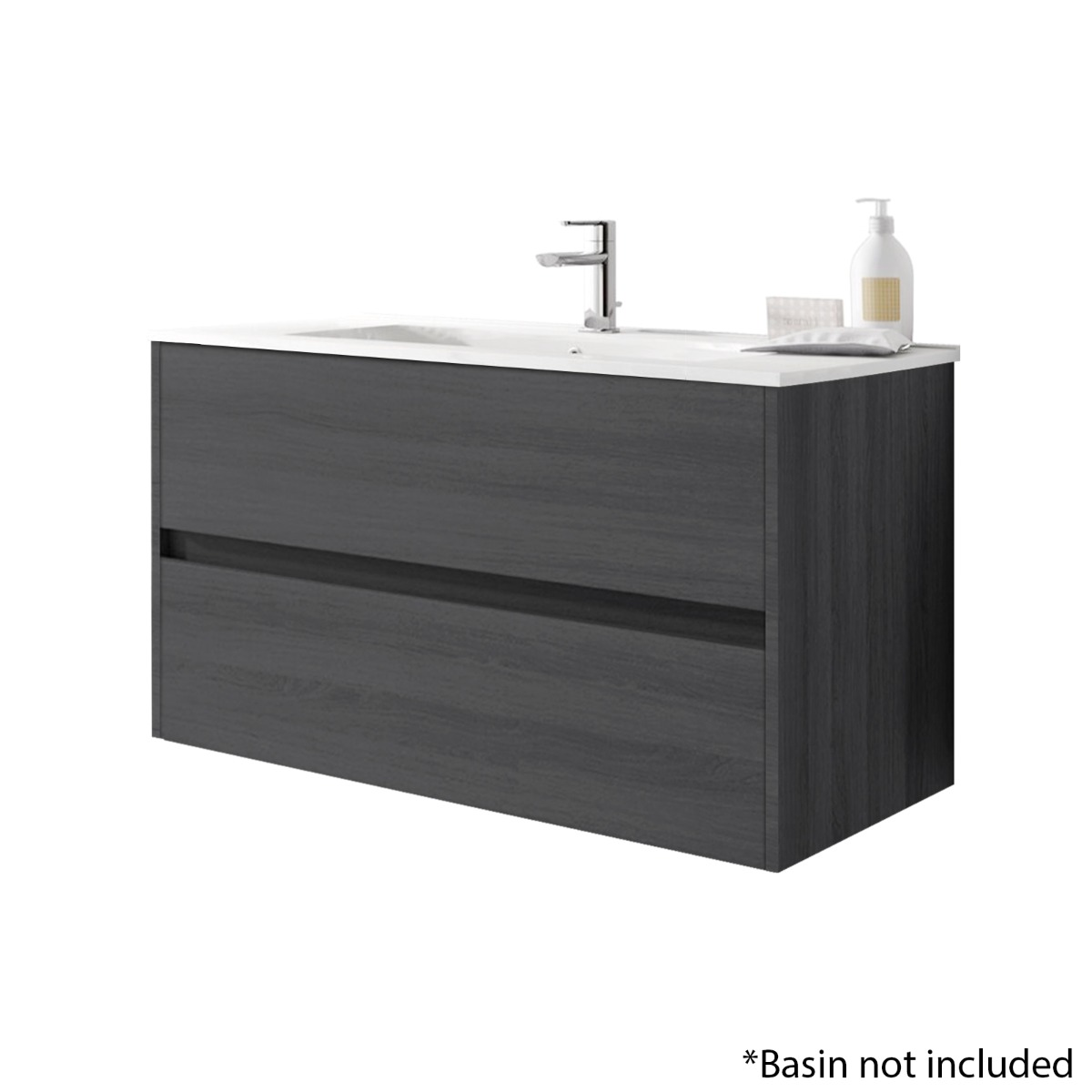 Alba 100cm 2 Drawer Basin Unit in Grey Oak