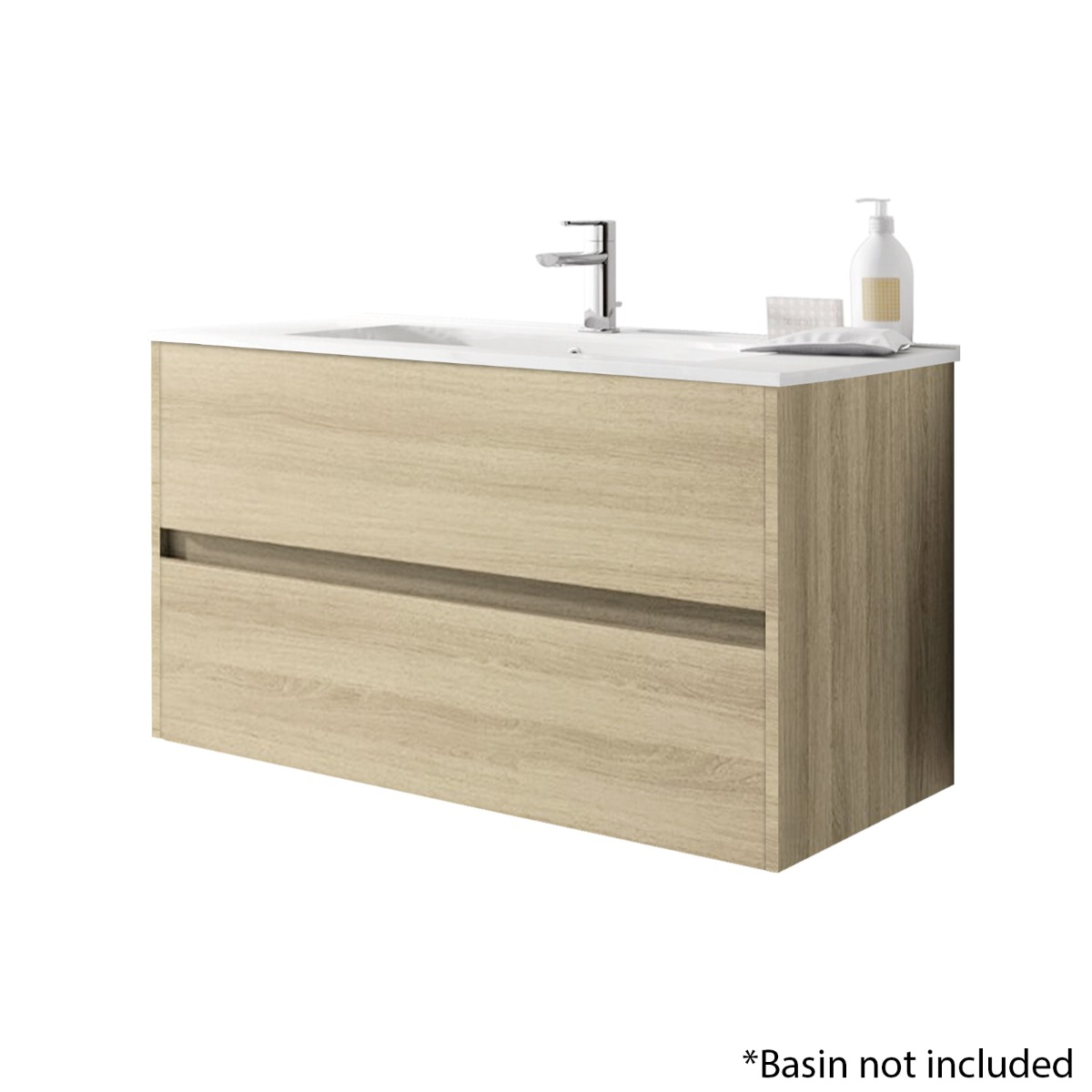 Alba 100cm 2 Drawer Basin Unit in European Oak