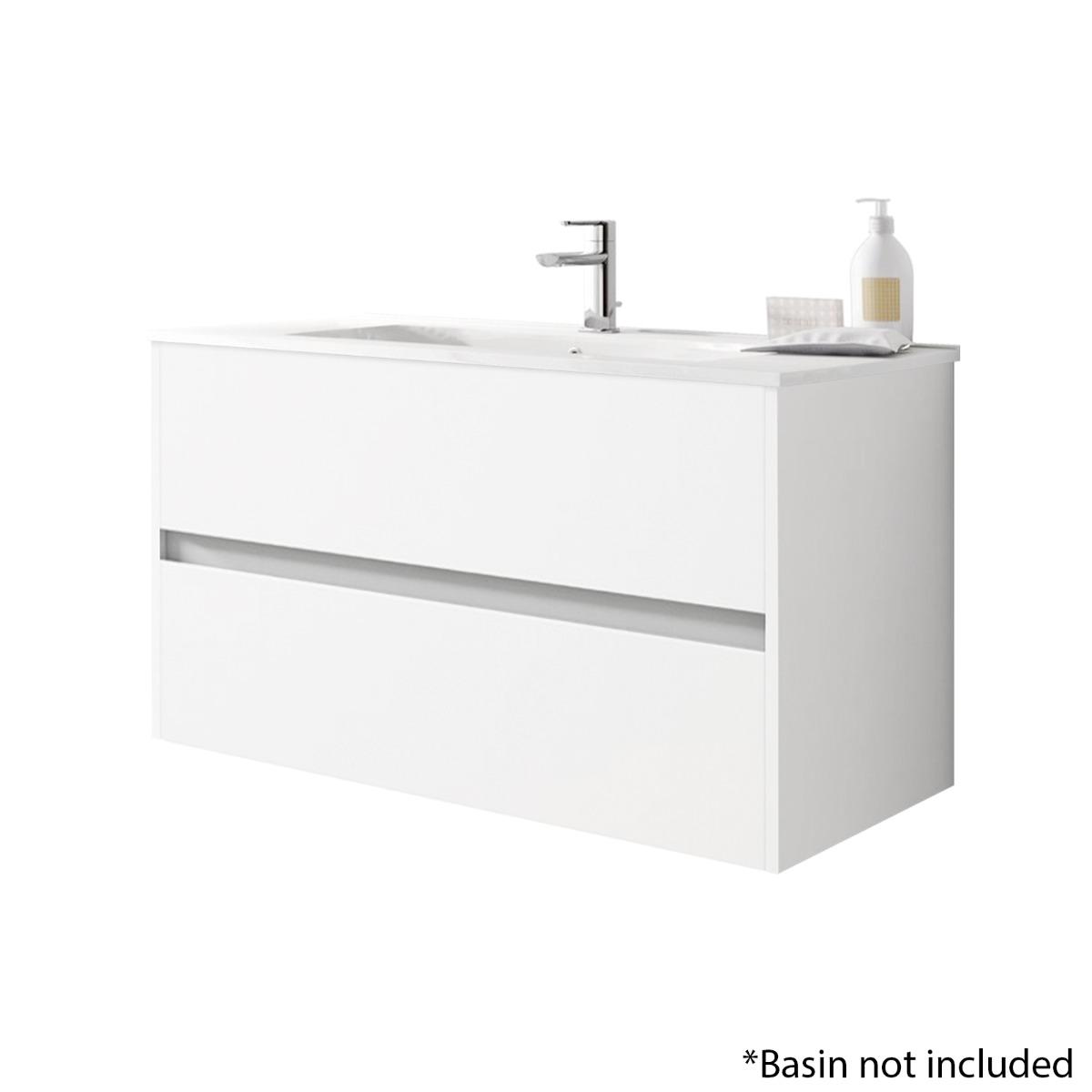 Alba 100cm 2 Drawer Basin Unit in Gloss White