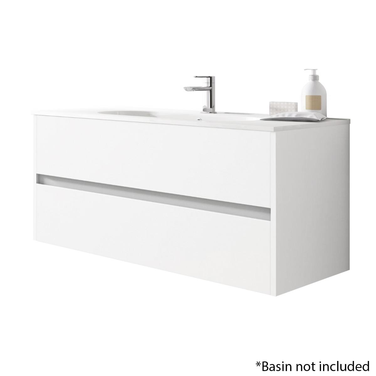 Alba 120cm 2 Drawer Basin Unit in Gloss White