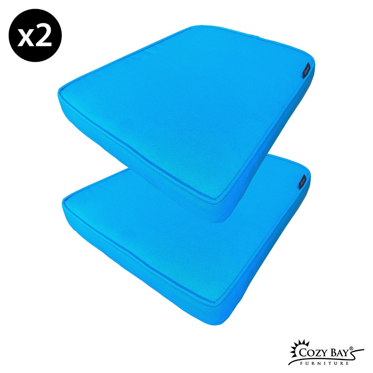 Caffe Latte Fabric Seat Pad (Set of 2) in Bright Blue