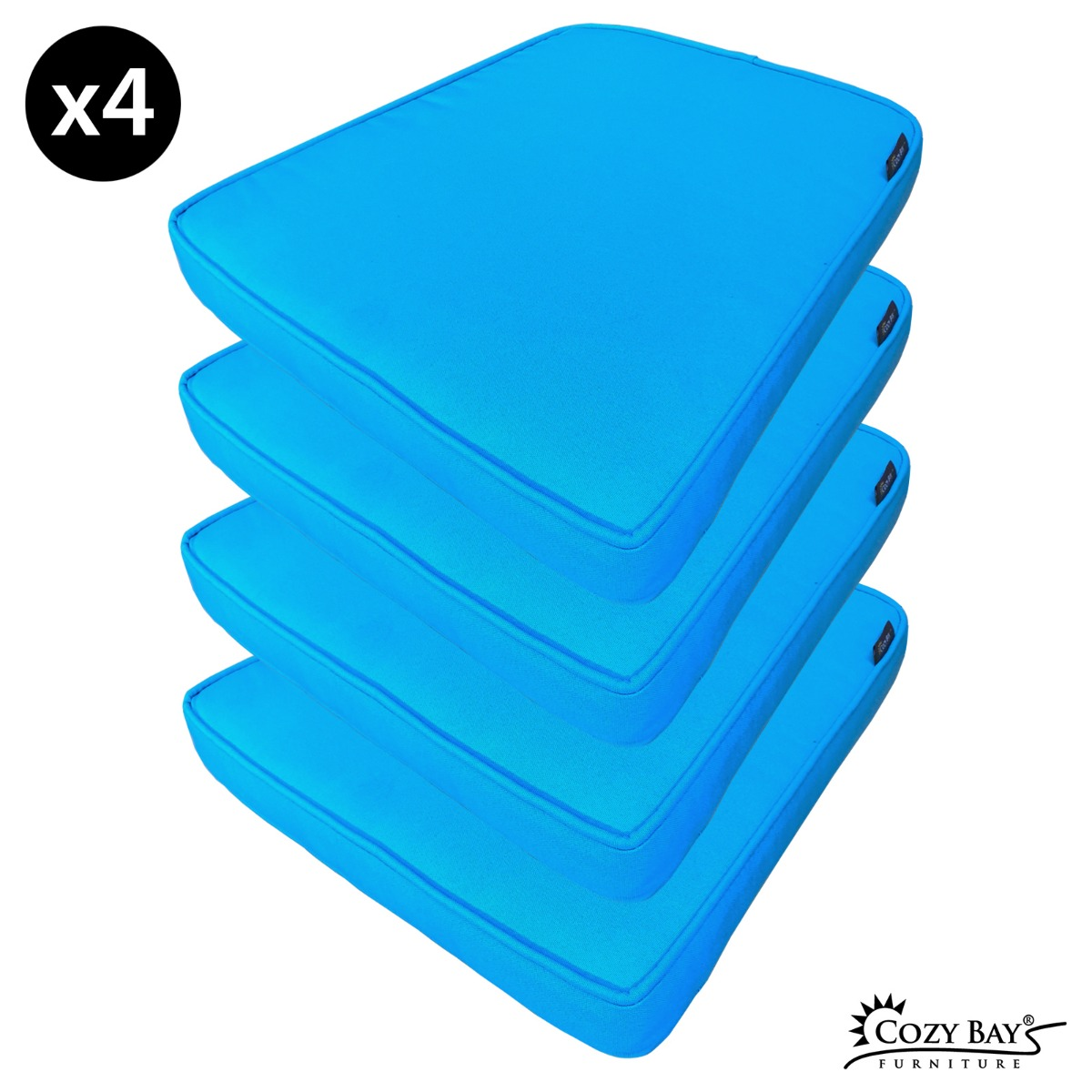 Caffe Latte Fabric Seat Pad (Set of 4) in Bright Blue