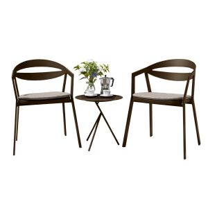 La Vida Aluminium 2 Seat Set in Coffee with Khaki Cushions & Explorer Table