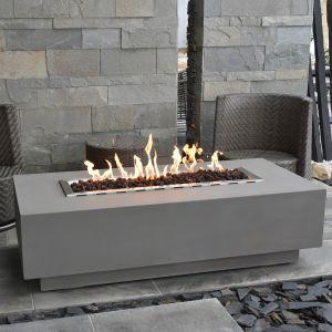 Granville HPC Concrete Rectangular Fire Table in Light Grey