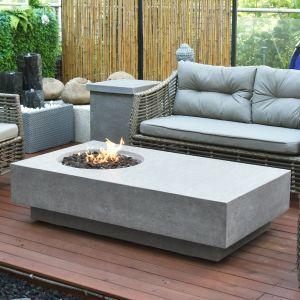 Metropolis HPC Concrete Rectangular Fire Table in Light Grey