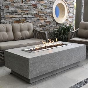 Kingsale HPC Concrete Rectangular Fire Table in Light Grey