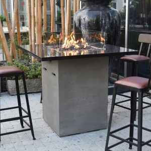 Alps HPC Concrete Rectangular 8 Seater Fire Pit Bar Table in Light Grey