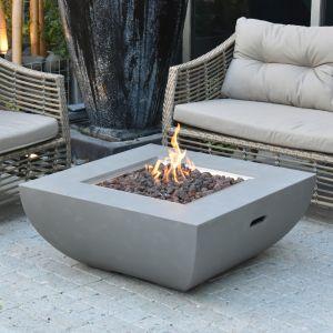 Westport GFR Concrete Square Fire Table in Light Grey