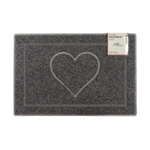 Heart Large Embossed Doormat in Grey