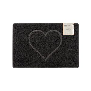 Heart Small Embossed Doormat in Black