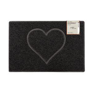 Heart Large Embossed Doormat in Black