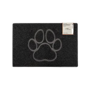 Paw Small Embossed Doormat in Black