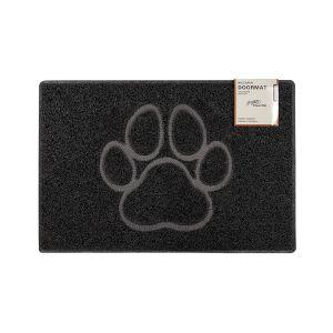 Paw Medium Embossed Doormat in Black