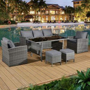Fiji Rattan 7 Seat Lounge Dining Set in Pewter Grey
