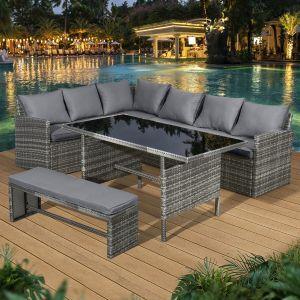 Fiji Rattan 8 Seat Corner Dining Set in Pewter Grey