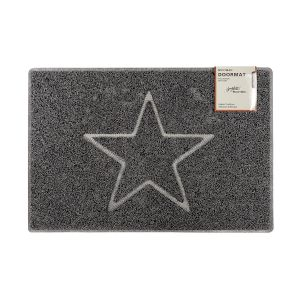 Star Large Embossed Doormat in Grey