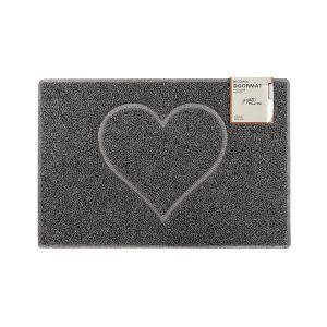 Heart Medium Embossed Doormat in Grey with Open Back