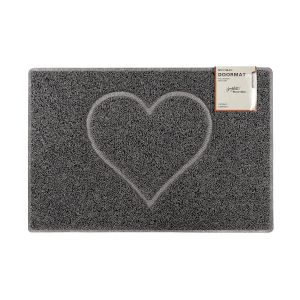 Heart Large Embossed Doormat in Grey with Open Back