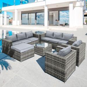 Malta Rattan 9 Seat U-Shape Set in Walnut