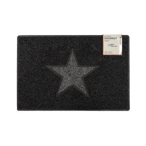 Star Medium Doormat in Black with Grey Star