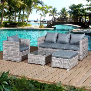 Acorn Rattan 5 Seat Lounge Sofa Set in Dove Grey