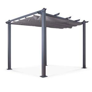 Acorn Aluminium 3m Square Pergola Gazebo in Grey