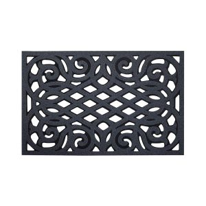 Ornate Small Eco-Friendly Doormat in Grey with Open Back