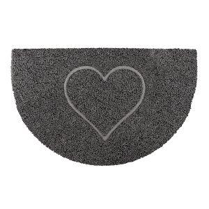 Heart Half Moon Doormat in Grey