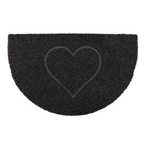 Heart Half Moon Doormat in Black