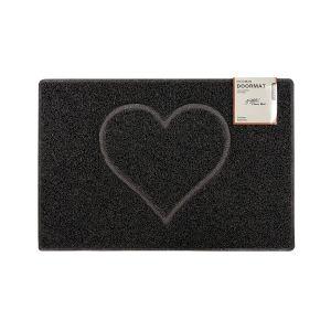 Heart Medium Embossed Doormat in Black with Open Back