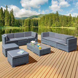 Trinidad Deluxe Rattan 8 Seat Modular Sofa Set in Ocean Grey