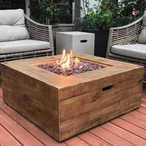 Wilton GFR Concrete Square Fire Table with Wood Effect