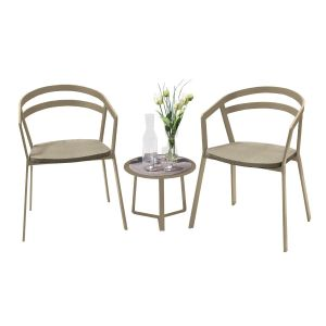 La Seine Aluminium & Textilene 2 Seat Set in Light Taupe with Khaki Sling & Apollo Table