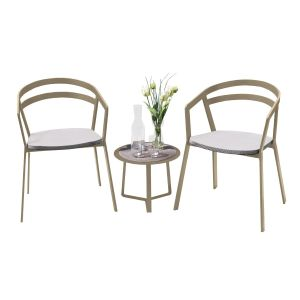 La Seine Aluminium & Textilene 2 Seat Set in Light Taupe with White Sling & Apollo Table