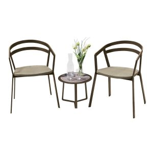 La Seine Aluminium & Textilene 2 Seat Set in Coffee with Khaki Sling & Apollo Table