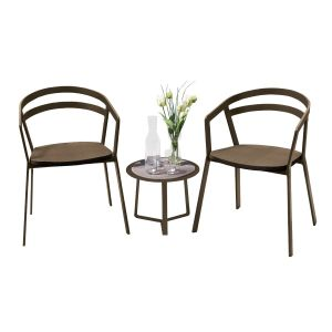La Seine Aluminium & Textilene 2 Seat Set in Coffee with Coffee Sling & Apollo Table