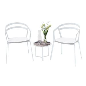La Seine Aluminium & Textilene 2 Seat Set in White with White Sling & Apollo Table