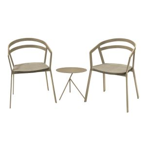 La Seine Aluminium & Textilene 2 Seat Set in Light Taupe with Khaki Sling & Explorer Table
