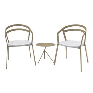 La Seine Aluminium & Textilene 2 Seat Set in Light Taupe with White Sling & Explorer Table