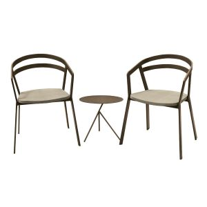 La Seine Aluminium & Textilene 2 Seat Set in Coffee with Khaki Sling & Explorer Table