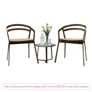 La Seine Aluminium 2 Seat Set in Coffee with Apollo Table (No Cushions)