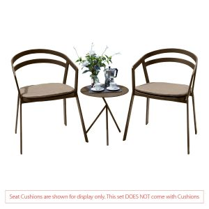 La Seine Aluminium 2 Seat Set in Coffee with Explorer Table (No Cushions)