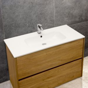 Thin-Edge 4010 Ceramic 101cm Inset Basin with Oval Bowl