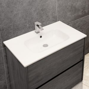 Thin-Edge 4010 Ceramic 81cm Inset Basin with Oval Bowl