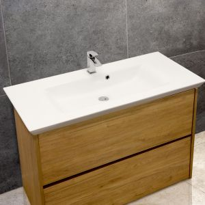 Flared Mid-Edge 5097 Ceramic 106cm Inset Basin with Flared Wide Bowl