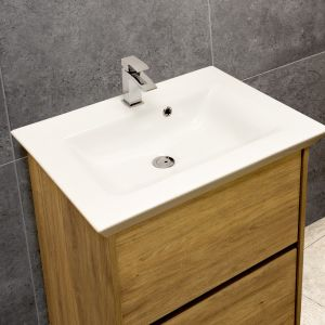 Flared Mid-Edge 5097 Ceramic 66cm Inset Basin with Flared Wide Bowl